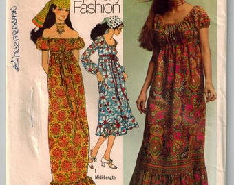 Vintage 70s Boho Peasant Dress Sewing Pattern Two Lengths On or Off Shoulder Raglan or Short Sleeves Low Round Neckline High Waist Size 8