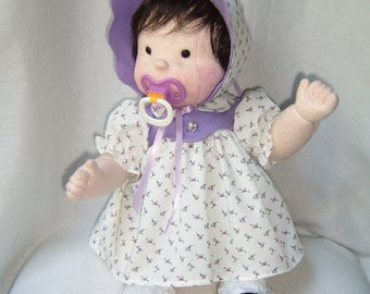 Baby doll, dolls, cloth doll, rag doll, cloth baby doll, waldorf inspired, soft sculpture doll, soft baby doll, doll with 2 outfits,