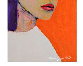 Orange Woman Portrait Painting Print. Purple Hair. Whimsical Wall Art Prints. Art Gift for Her Home. Apartment Decor.
