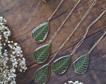 Gold Pressed Fern Necklace Pressed Flower Jewelry Botanical 14k Gold Fill Chain
