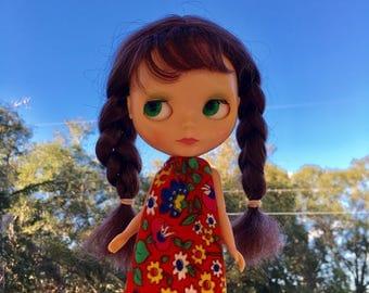 Groovy Floral Mod Blythe Doll Floaty Dress (Tent/Trapeze/GoGo/Groovy/1960s/Vintage Fabric)