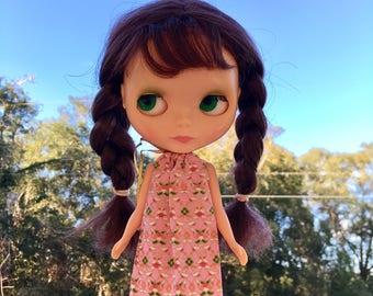 Pink Mod Blythe Doll Floaty Dress (Tent/Trapeze/GoGo/Groovy/1960s/Vintage Fabric)
