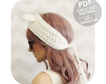 crochet pattern - bunny ears headband ear warmer - winter ear warmer headband - animal ears - bunny rabbit - gift for teens