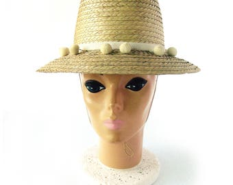 1960s Vintage Straw Sun Hat with Pom Pom Trim Hat Band / Women's Summer Poolside Hat / Rattan Hat / Pool Party Hat / Fun in the Sun