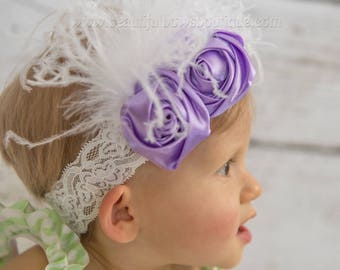 Lavender Baby Headband,Infant Headband,Newborn Headband,Lavender Headband,Shabby Chic Headband Purple Headband,Purple Headband for Toddler