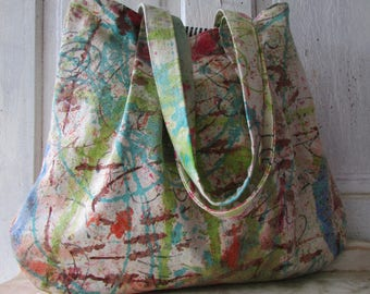 Handmade canvas shopping bag market bag shoulder bag hand painted wheelchair painted unique bag large fabric bag artist bag fabric tote