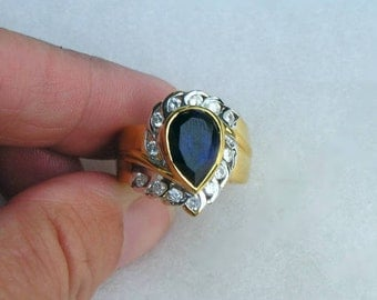 Lovely Gold Over Sterling Sapphire & Cubic Zirconia Ring