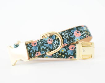 Les Fleurs Rosa Flora Fall Dog Collar in Pine Green