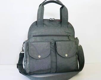 Sale - Water Resistant Nylon Bag in Grey - Messenger, Satchel, iPad bag, Crossbody bag, Tote, handbag, travel bag, Women - LORIE