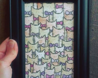 """Fancy Beasts - Cats in Bow Ties Watercolor Painting in Black Frame - Original Framed Cat Art - 4x6"""""""