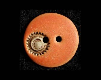Handmade Ceramic Buttons: Matte Orange Saori or Steampunk Flair