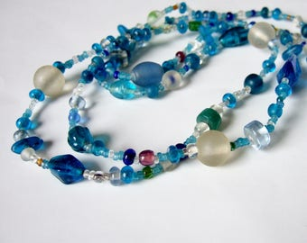 Turquoise and Mixed Colours Glass Bead Necklace - Vintage Random Glass Beads in Aqua Shades