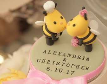 Kissing  Bees  wedding cake topper, lady pug wedding cake topper---k752
