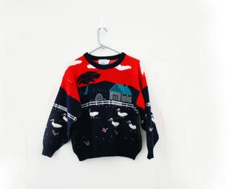 vintage 80s Geese Down on the Farm Red & Navy Blue Ugly Sweater // M L