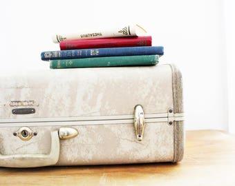vintage 60s Off White Marbleized Marble Swirl Samsonite Hard Suitcase // Mid Century Modern Decor