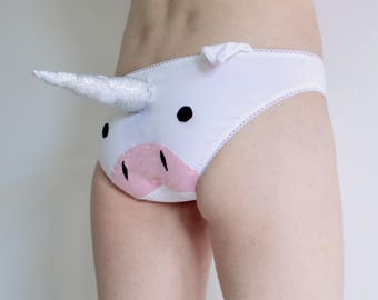 Unicorn Panties with unicorn 3D plush horn knickers underwear