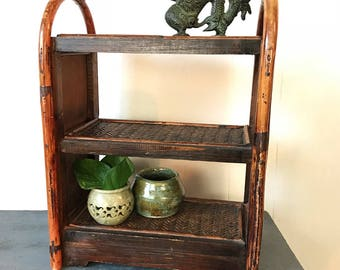 woven rattan and wood shelf - three level - dark brown bamboo - bathroom kitchen storage - spice rack - Asian bohemian