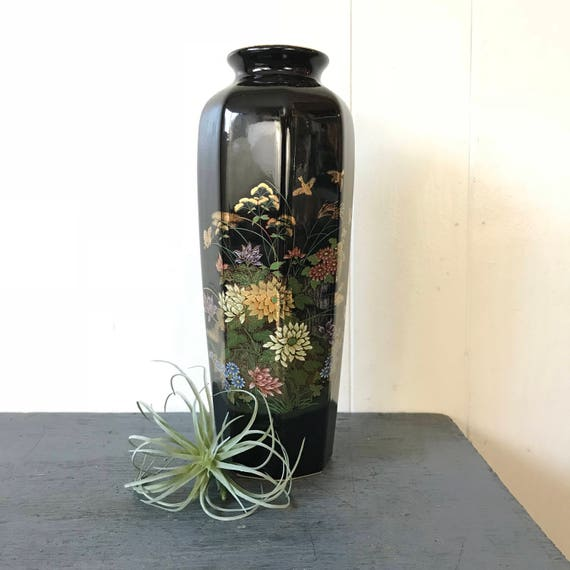 vintage Japanese ceramic vase - hand painted black gold - floral birds - Asian chinoiserie