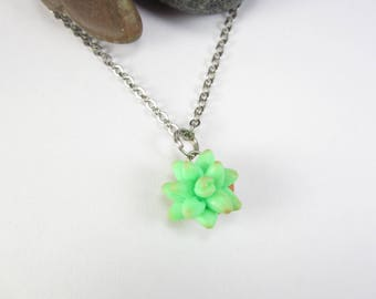 Succulent jewelry, succulent gift, succulent necklace, succulent plant charm, polymer clay, nature, plant necklace, flower necklace. green