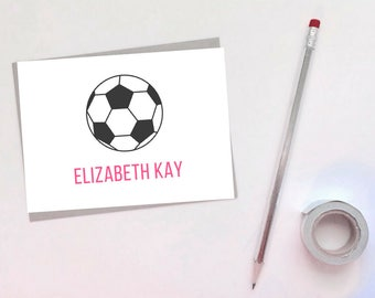 Set of [10] 4x6 Personalized Soccer Note Cards - Greeting Cards - Monogram