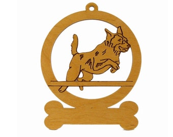 Austrailian Cattle Dog Jumping Ornament 081296 Personalized With Your Dog's Name - Free Shipping