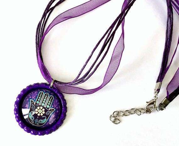Hamsa Organza Ribbon Necklace, Hamsa Hand Ribbon Necklace, Purple Hamsa Pendant, Hamsa Organza Ribbon Choker Necklace, Fatima Pendant