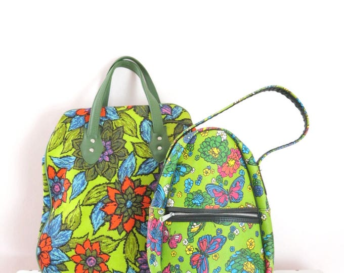 1960s Mod Flower Butterfly Green Luggage Set | 60s Hippie Retro Luggage