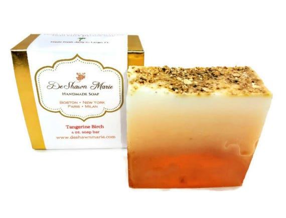 SOAP- Tangerine Birch Soap - Vegan Soap - Soap Favors - Soap Gift - Christmas Gift - Vegan Gifts - Father's Day Gift - Soap for Men -