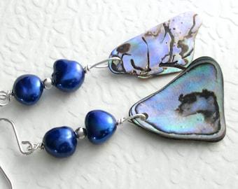 Indigo Blue Pearl & Abalone Earrings, Purple Paua Shells, Sterling Silver Ocean Jewelry