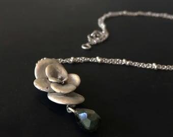 Succulent necklace -Sterling silver pendant -Plant necklace-Botanical jewelry -Tourmaline necklace -Succulent jewelry -Cactus pendant