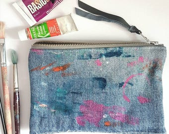 REPURPOSED Denim Pouch. Abstract Hand Painted Bag. Upcycled Jean Pouch. Recycled Leather. Artist Palette. Ready To Ship.