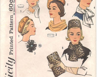 Simplicity 4178 1960s Misses Pillobx Hat Reversible Beret Scarves Bag and Rosette Pattern Womens Vintage Sewing Pattern