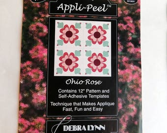 Lot of 4 Applique Patterns - 3 Debra-Lynn Appli-Peel Quilt Square Patterns w/ Stick-on Templates, Instructions - 1 No-Sew Hostess Halloween