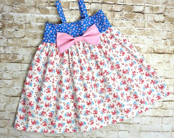 Toddler Girls Spring Dress - Big Bow Dress - Baby Girl Dress - Toddler Clothes - Pink Dress - Birthday Dress - Sizes 6 months to 8 years