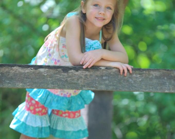 Toddler Shorts Set - Girls Summer Short Set - Ruffle Shorts - Halter Top - Pink Ruffle Capris - Capri Pants - Capri Set  - sizes 6 mos to 4T