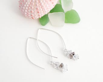 Simple Natural Diamond Earrings, Handmade, Herkimer Diamonds, Dainty, Quartz, Sterling Silver, Simply Me Jewelry Dangling Diamonds, SMJER801