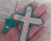 SALE Easter Teal & Creamy Ecru Bible Bookmark Tatted Cross Handmade Tatting