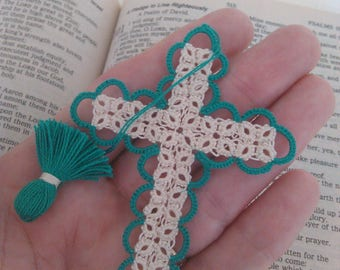 Teal & Creamy Ecru Bible Bookmark Tatted Cross Handmade Tatting