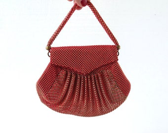 Vintage Whiting and Davis Mesh Purse | 1940s Purse | Red Gold Mesh Bag