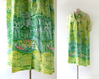 1950s Beach Cover Up | Vacanza a Venezia | 50s House Coat | One Size Fits All