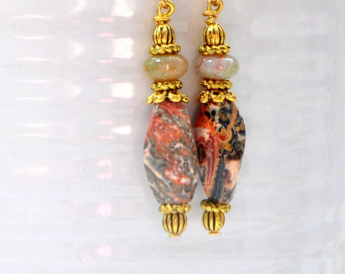 Green Opal Earrings Dangle Earring 2 inch Boho Earrings Handmade