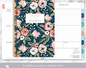 planner 2018   2018-2019 weekly planner   calendar student planner add monthly tabs   personalized agenda daytimer   navy pink gold floral