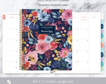 8.5x11 MONTHLY PLANNER notebook | 2017 2018 no weekly view | choose your start month | 12 month calendar | blue pink watercolor floral