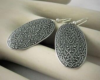 Silver Floral Medallion Earrings Silver Earrings Ornate Earrings Handmade Vintage Oval Shield Jewelry flower earrings old world jewelry