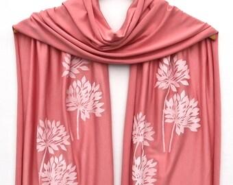 Spring Scarf - Hand Printed Scarf - Lightweight Jersey Scarf - Summer Scarf - Block Print Flower - Pink Scarf - Floral Print Scarf - Linocut