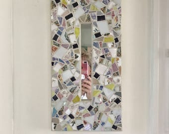 Stained glass mosaic framed mirror