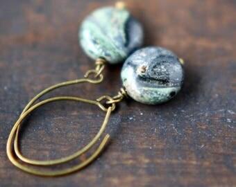 Jasper Earrings - Gemstone and Brass - Green Goddess - Kambaba Jasper Earrings