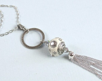 Long Silver Tassel Necklace - Indonesian Bead,