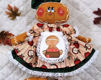 "Primitive Raggedy 13""~APPLE GINGER""~Doll w/ apron~Necklace!"