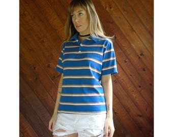 Retro Striped Blue Polo s/s Shirt - Vintage 70s - SMALL